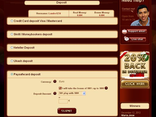 Tropezia Palace Casino cashier screenshot