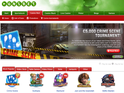 Unibet Casino website screenshot