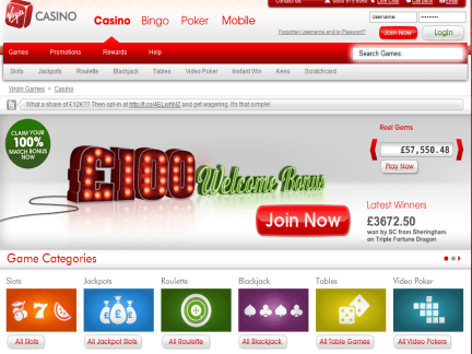 Virgin Casino website screenshot