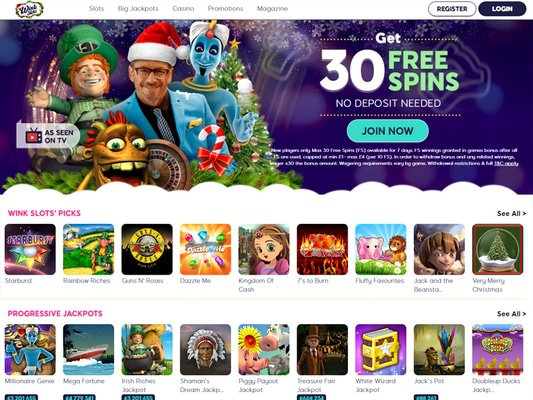Wink Slots Casino website screenshot