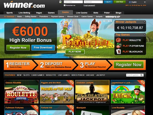 Winner Casino website screenshot
