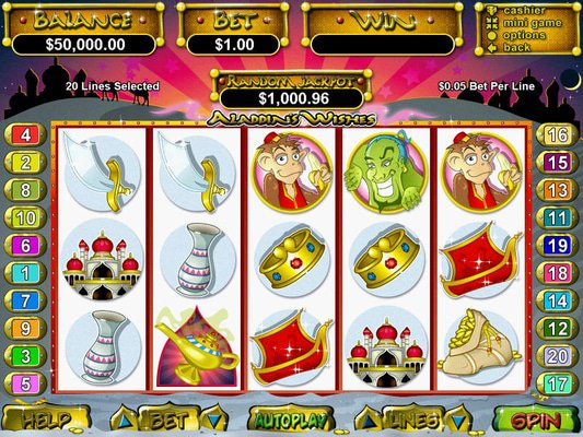Aladdins Gold Casino software screenshot