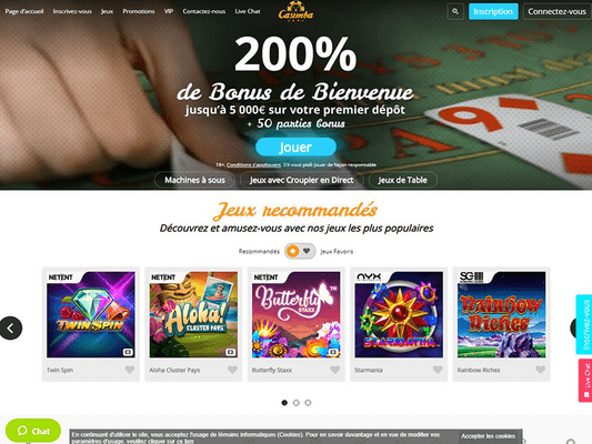 Casimba Casino website screenshot