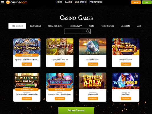 Casino.Com software screenshot