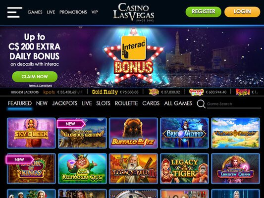 Casino Las Vegas website screenshot