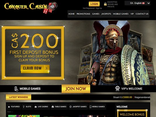Conquer Casino website screenshot