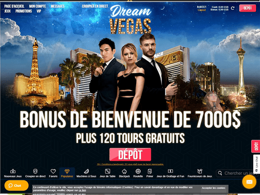 Dream Vegas Casino website screenshot