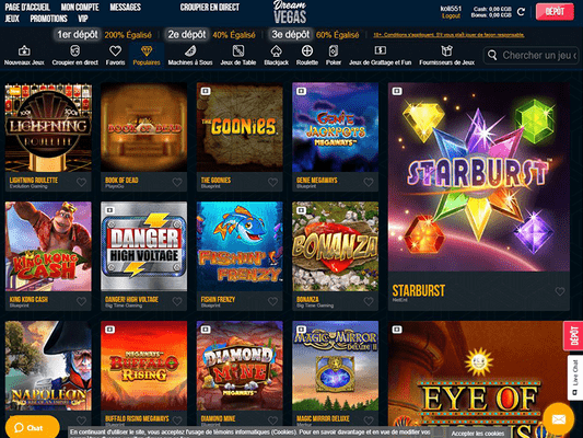 Dream Vegas Casino software screenshot
