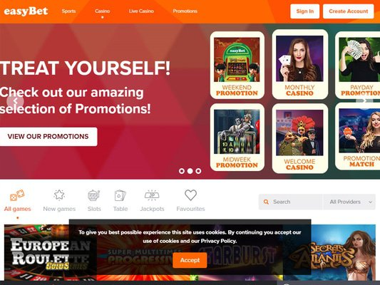 Easybet website screenshot