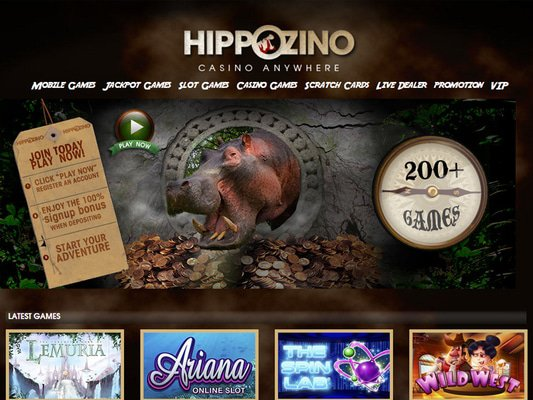 Hippozino Casino website screenshot