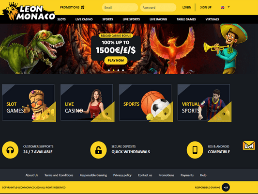 LeoMonaco Casino website screenshot
