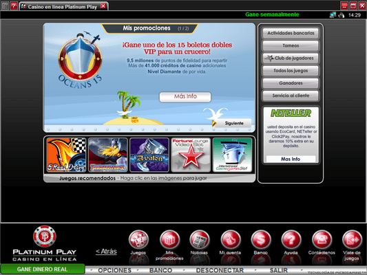 Platinum Play Casino software screenshot