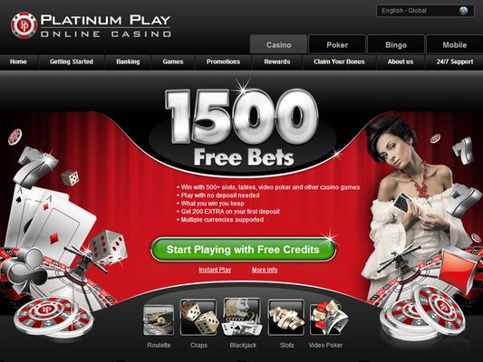 Platinum Play Casino website screenshot