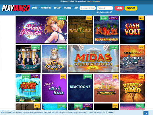 PlayJango Casino software screenshot