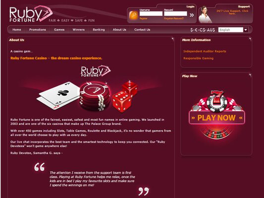 Ruby Fortune Casino software screenshot