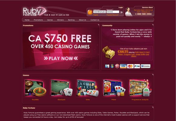 Ruby Fortune Casino website screenshot