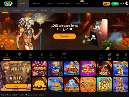 SpinMillion Casino website screenshot