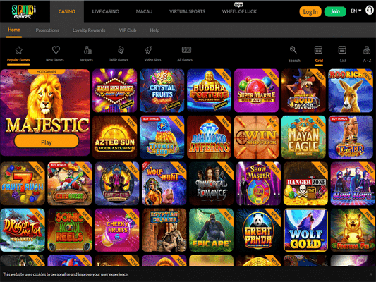 SpinMillion Casino software screenshot