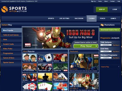 Sports Interaction Casino website screenshot