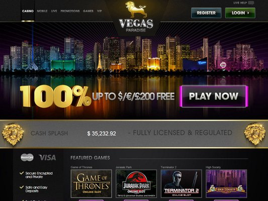 Vegas Paradise Casino website screenshot