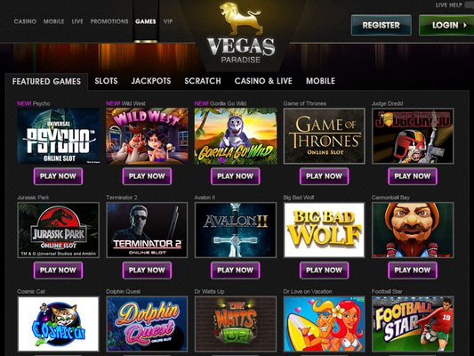 Vegas Paradise Casino software screenshot