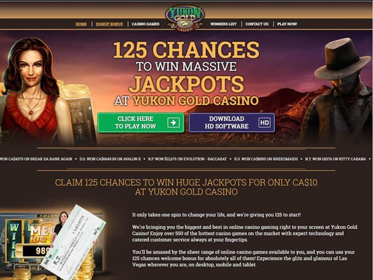 Yukon Gold Casino website screenshot