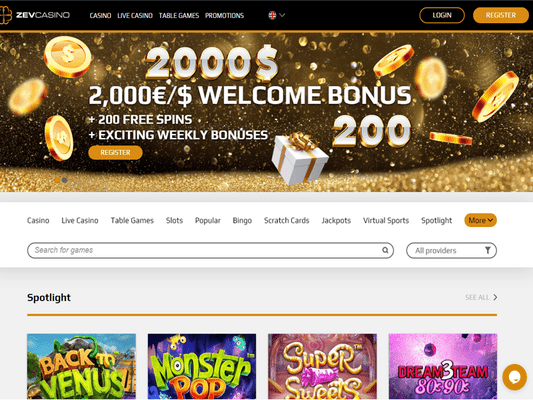 Zev Casino website screenshot